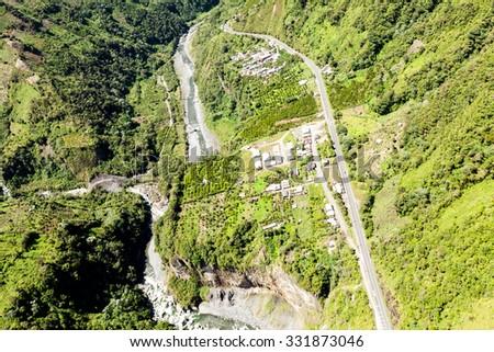 Pan American Road In The Andes Tungurahua Province Ecuador High Altitude Aerial Shot - stock photo
