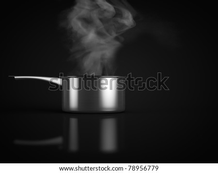 pan and smoke on black
