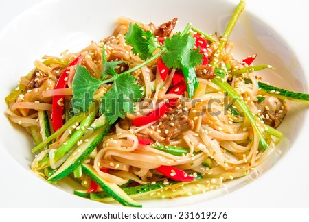 Pan-Asian rice noodles with beef, vegetables, bean sprouts in a sweet and sour sauce on white plate - stock photo