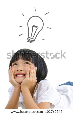 Pan Asian thinking on white background, with a light bulb above head - stock photo