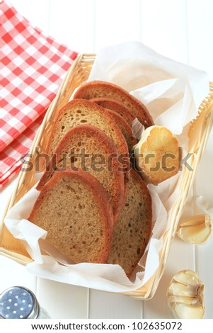 Pan fried bread and garlic  - stock photo
