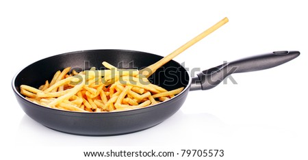 pan fried potatoes with a delicious isolated on white
