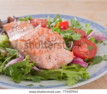 pan-fried salmon with salad