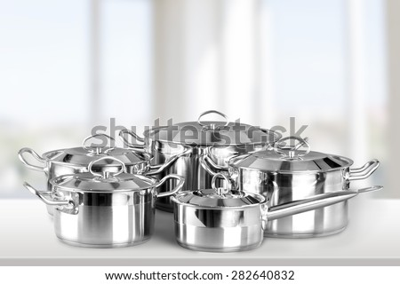 Pan, Kitchenware Department, Saucepan. - stock photo