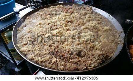 Pan of sauerkraut - stock photo