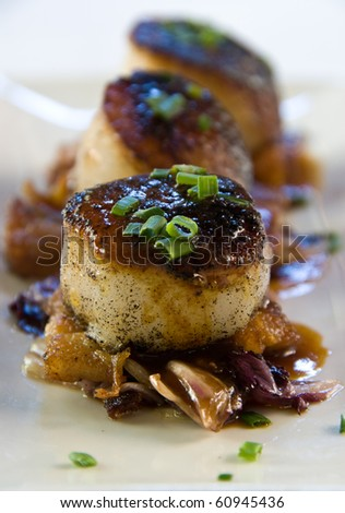 pan seared scallops over pork belly with radicchio - stock photo