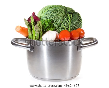 pan with fresh vegetables for soup white background - stock photo