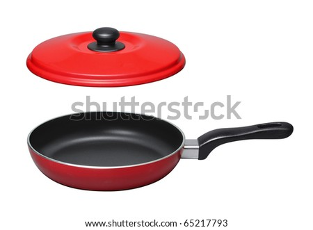 pan with lid on white background - stock photo