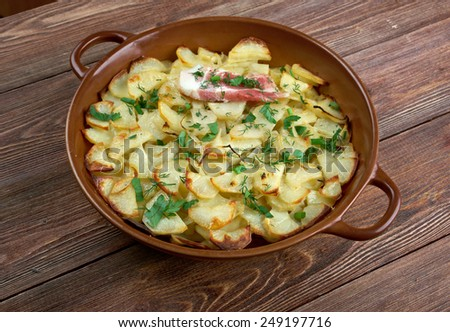 Panackelty -  casseroled dish, traditional throughout the northeast of England potato stew - stock photo