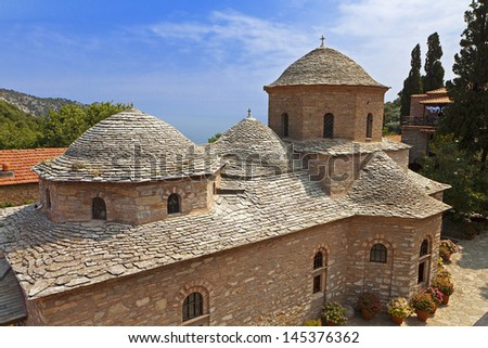 Panagia Evangelistria monastery at Skiathos island in Greece - stock photo
