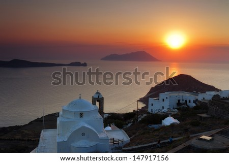 Panagia Thalassitra church at sunset, Milos island, Cyclades, Greece