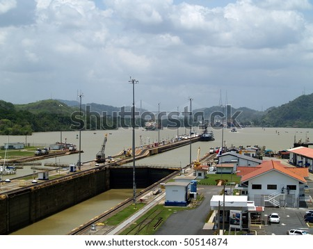 Panama Canal, near Panama City, looking inland from the Miraflores Lock  towards the Pedro Miguel Lock - stock photo