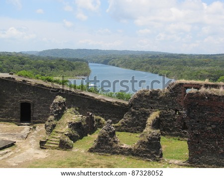 Panama, Chagres river, San Lorenzo fort Spanish ruins. Located on the Caribbean, San Lorenzo was built to protect the gold coming from Panama La Vieja (City) along the Chagres from pirates attacks. - stock photo