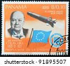 PANAMA - CIRCA 1966: A stamp printed by Panama, shows Sir Winston Churchill and rocket Blue streak, circa 1966 - stock photo