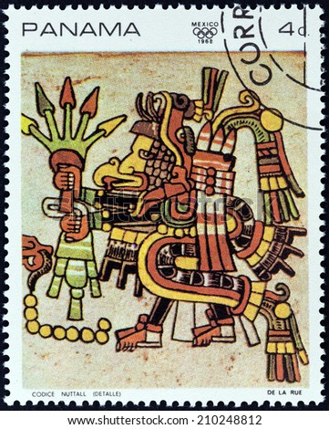"PANAMA - CIRCA 1968: A stamp printed in Panama from the ""1968 Summer Olympics, Mexico City "" issue shows Detail from the ""Codex Nutall"", circa 1968."