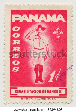 PANAMA - CIRCA 1964: A stamp printed in Panama shows a boy-scout, circa 1964 - stock photo