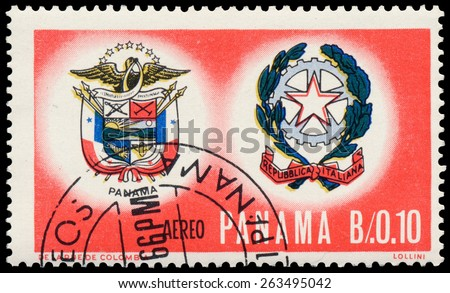 PANAMA - CIRCA 1966: Stamp printed in Panama shows crests by Italy and Panama, circa 1966