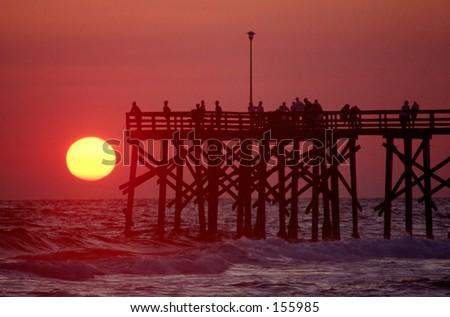 Panama City Beach Florida Pier at Sunset - stock photo