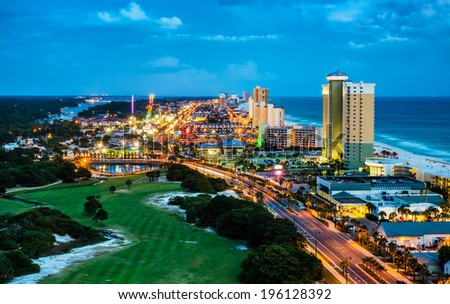 Panama City Beach, Florida, view of Front Beach Road at night during blue hour - stock photo