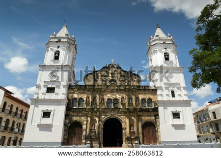 Panama City, Central America, View of Catholich Cathedral in Plaza Mayor, Casco Viejo - stock photo