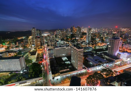 Panama City, city center skyline and downtown of Panama, Central America where all the commercial activity happens. - stock photo