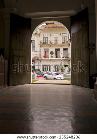 PANAMA CITY, PANAMA - AUGUST 10, 2009: Cathedral door, in Casco Viejo, historic city center. - stock photo