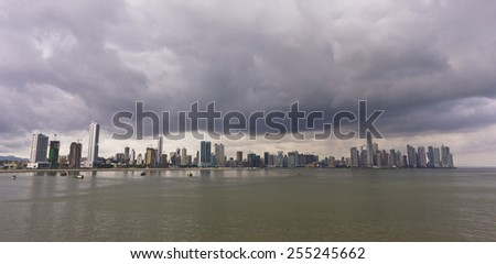 PANAMA CITY, PANAMA - AUGUST 10, 2009: skyline and storm clouds, downtown Panama City, Marbella and Bella Vista neighborhoods. - stock photo