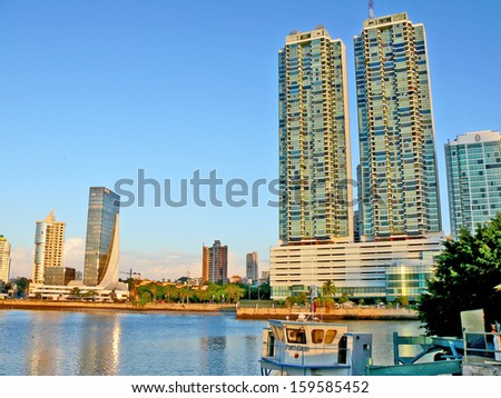 PANAMA CITY, PANAMA, DECEMBER 20 2006. A patch of the sea in the front, and skyscrapers in the background, in Panama City, on December 20th 2006. - stock photo