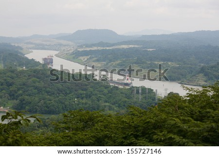 PANAMA CITY,SEPT 25: Corte Culebra, shortest part of Panama Canal that give permission to ships that transit around the world. Allows just one ship in this area in Panama City, Panama on Sept 25, 2013 - stock photo