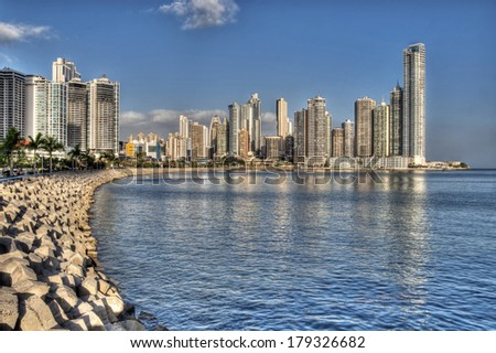 Panama City skyline and the Panama Bay.