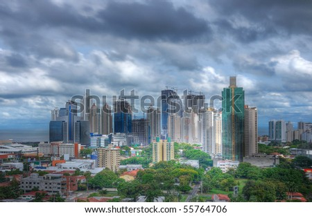 Panama City skyline with a very dramatic sky - stock photo
