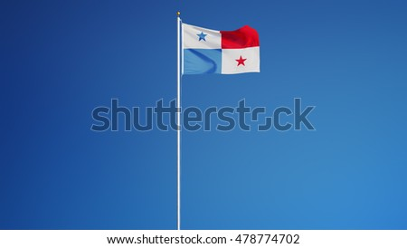 Panama flag waving against clean blue sky, long shot, isolated with clipping path mask alpha channel transparency