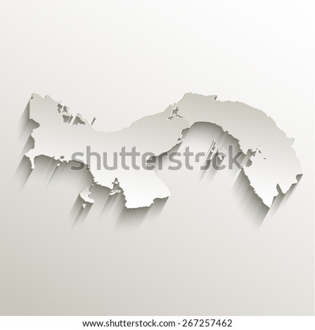 Panama map card paper 3D natural raster - stock photo