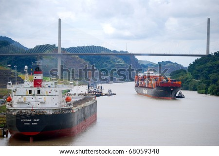 PANAMA - OCTOBER 6. In July 2009 the Panama Canal Authority awarded contracts to a consortium of companies to build six new locks by 2015. Existing canal seen in October 2010. October 6 2010, Panama - stock photo