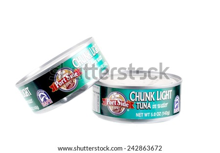 PANAMA, PA - JANUARY 08, 2015: Two 5 ounce canS of  Port Side brand Chunk Light Tuna packed in water isolated on white - stock photo