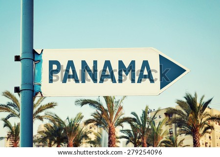 Panama Road Sign - stock photo