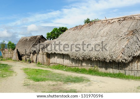 Panama, Traditional house kuna indians with the roof thatched on a Caledonia island on the San Blas archipelago - stock photo