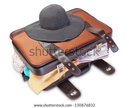 Panama women on a suitcase for a holiday. On a white background. - stock photo