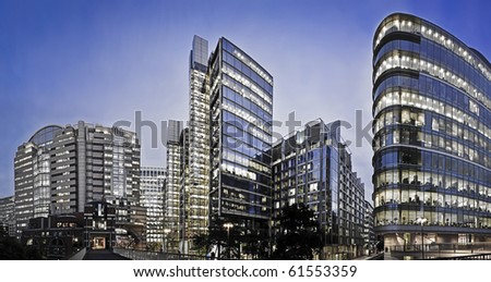 Panaorama image part of London's Financial district - stock photo