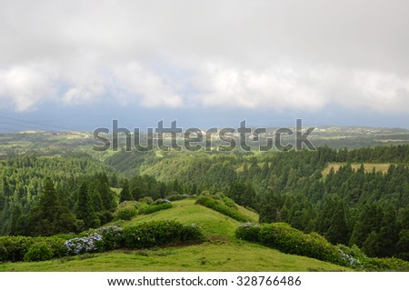Panaromic view below clouds close to lake of Sete Cidades, Azores, Portugal Europe - stock photo