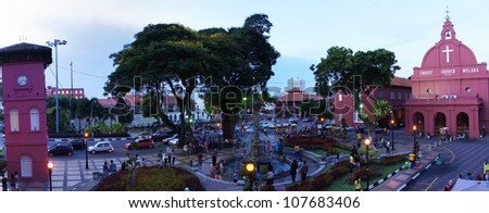 Panaromic view of Christ Church at sunset. Christ Church is in the main square adjacent to Stadthuys, Melaka, Malaysia. - stock photo