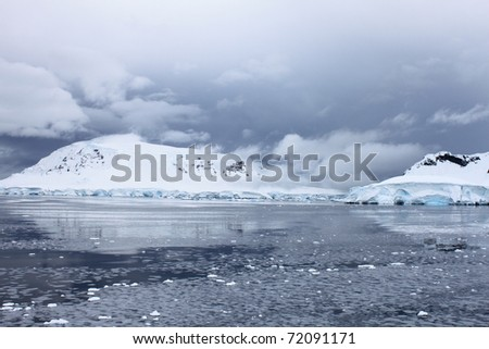 Pancake ice Antarctica - stock photo