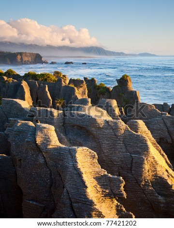 Pancake Rocks at Punakaiki seen from the lookout, West Coast, South Island, New Zealand - stock photo