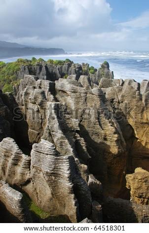 Pancake rocks, New Zealand - stock photo