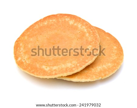 pancake - two pancake taken in natural light isolated on white background  - stock photo