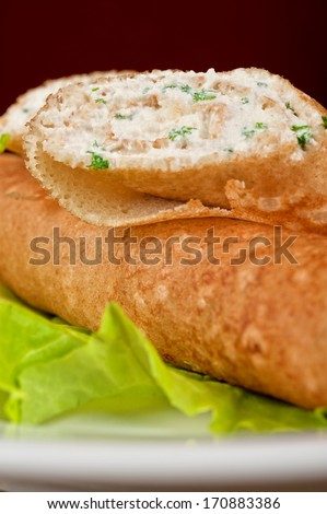 Pancake with greens and feta cheese