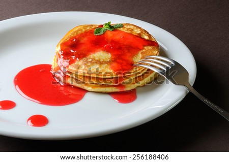 pancakes on a white plate - stock photo