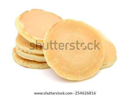 pancakes on white background - stock photo