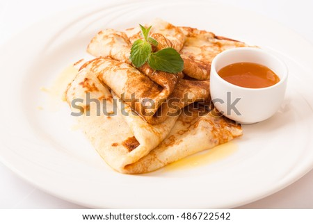 pancakes with butter on plate