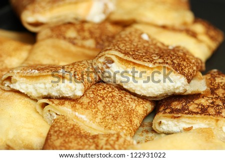 Pancakes with cheese - stock photo